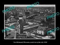 OLD LARGE HISTORIC PHOTO OF NEW RICHMOND WISCONSIN, AERIAL VIEW OF CITY c1910