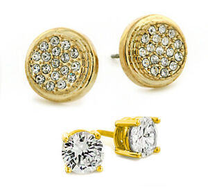 18K Gold Plated Micropaved Round and 4mm CZ HipHop Studs Earrings Combo 6822