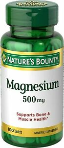 [3-Pack] Nature's Bounty Magnesium, 500 mg Coated Tablets, Mineral...