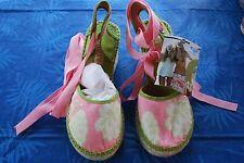 """Roxy"" Lime Green & Pink Floral Canvas Espadrille~Size 7 B (6)~Med. heel~NIB"