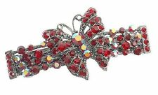 Debenhams Chic Siam Red Butterfly Hair Clip Slide Barrette W/ Swarovski Crystals