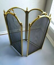 Super Clad Vintage 4 Fold Antique Brass Fireplace Screen 28""