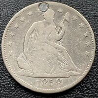 1858 Seated Liberty Half Dollar 50c Mid Grade VG Details #22175