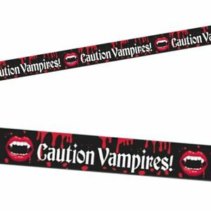 HALLOWEEN DECORATION VAMPIRE BLOOD BITE CAUTION TAPE BANNER FANCY ACCESSORY