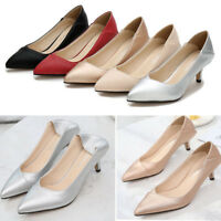 Womens Ladies Low Mid Kitten Heels Pointed Toe Stilettos Pump Party Court Shoes