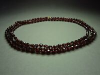 1960's Vintage Czechoslovakian Garnet Red Faceted Glass Bead Necklace Long