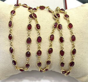 """14k Solid Yellow Gold Tennis Necklace, Natural Ruby 20"""". 12.99 Grams"""