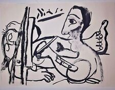 Pablo Picasso Portrait Original Watercolor Drawing Painting. Signed.