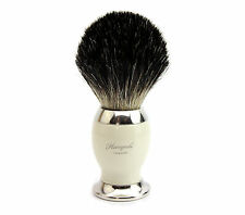 PURE BLACK (BADGER HAIR)SHAVING BRUSH WITH IVORY & METAL BASE