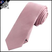 Mens Blush Dusky Pink Plain Skinny Tie Dusty Pink Rose Men's Slim Thin