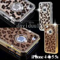 NEW CRYSTAL DIAMOND LEOPARD FUR ALUMINIUM BACK CASE COVER for iPHONE 5S 5 4S 4