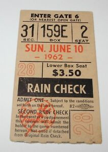 1962 Yankees Orioles Ticket Stub Brooks Robinson Clete Boyer Home Runs (6/10/62)