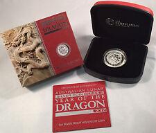 Australian Lunar Year of the Dragon 2012 High Relief Silver coin Perth Mint