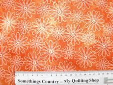 Quilting Patchwork Sewing Fabric FLOWER POWER ORANGE FLORAL 50x55cm FQ New