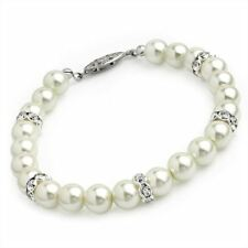 Cream Faux Pearl Colour Glass Bead Crystal Bracelet Bangle Wedding Bride Gift