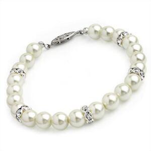 Cream Faux Pearl Colour Glass Bead Crystal Bracelet Bangle Wedding Bride Gift