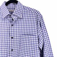 Ermenegildo Zegna Mens Purple Plaid Button Front Long Sleeve Shirt Size Large