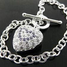 Bracelet Bangle 925 Sterling Silver SF Solid Ladies Amethyst Padlock Tbar Design