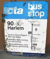 Vtg 2 Sided CTA Bus Stop 90 HARLEM Chicago Aluminum Sign 24 x 18 S601