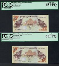 Bhutan 2 Notes 5  Ngultrum 2006 P28a Uncirculated Grade 65