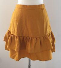 New Jcrew Tall wool flannel ruffle Office skirt Bronzed Topaz Gold G8871 16T