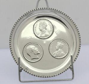 Kleine Schale Silber mit Silber Münzen One Rupee India Münzschale 1875 1906 / 19