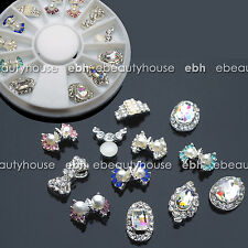 12 Pcs 3D Nail Art Decoration Alloy Pearl Rhinestone + Wheel #EB-149