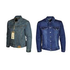Men's Plus King Size Mens Blue Denim Jacket Long Sleeves Casual Jeans Coat