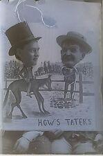 Men Circus Fair How's Tater's Cut Out Glass Photo Negative 1890-1920 3x4 #615
