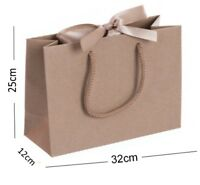 Natural Kraft Medium Boutique Shop Ribbon Gift Bags - Rope Handle Events Bag