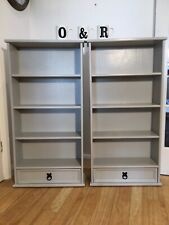 Superb Vintage Pair Of Solid Pine Bookcases Painted Farrow And BallPurbeckStone