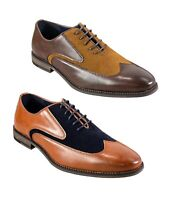 Men's Tan Brown Navy Suede Leather Lace Up Oxford Brogue Formal Casual Shoes