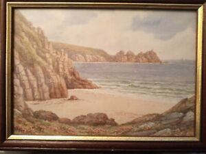 BEAUTIFUL WATERCOLOUR BY T H VICTOR  PORTHCURNO CORNWALL