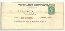 1/2D GREEN QUEEN VICTORIA VACCINATION CERTIFICATE COMPLETE FORM 1874 SHOREDITCH