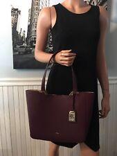 NWT Ralph Lauren Acadia Medium Tote Red Burgundy Wine Leather Bag $138