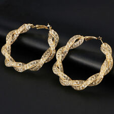 New Large 5.6cm Gold Tone Twisted Hoop Earrings w/ Shiny Cubic Zirconia Crystals