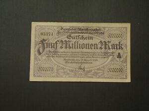 GERMANY 1923 5 MILLION MARK REICHSBAHN CIRCULATED BANKNOTE P-S1268