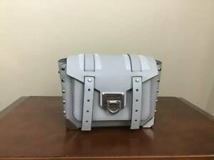 Michael Kors Manhattan Small Flap Smooth Leather Messenger Bag Pearl Grey Silver