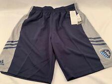 Sporting KC Climalite Adidas MLS Boys Youth Team Soccer Athletic Shorts