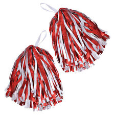 Set of 2 Red & White Cheerleader Pom Poms High School American Football