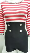 Dance Costume Small Adult Red White Stripe Sailor Unitard Jazz Solo Competition