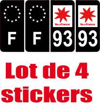 4 Autocollants 2 paires Stickers style Auto Plaque Black Edition noir F+ 93