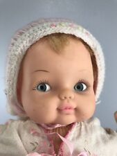 "Vintage Horsman Dolls Baby Doll Blue Eyes 19"" Blond plastic face cloth body"