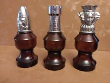 Vintage Avon 3 glass brown and silver chess pieces