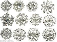 Bouquet Job Lot Cake Deco New Uk Mix Silver Diamante 12 Pcs Brooch Broach Pin