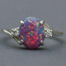 2.3Ct Opal Ring Wedding Women Engagement Silver  Fire Gemstone Party Fashion