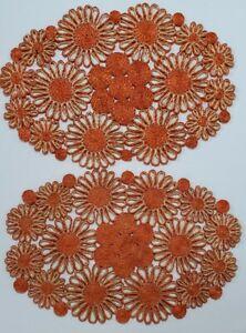 Vintage Rattan Straw Placemats  Boho 1960-1970's Flowers Orange 19x13 Set of 2