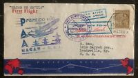 1937 Portuguese Macao First Flight Cover FFC To Louisville USA Via Philippines
