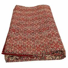 Indian Ethnic Ajrak Kantha Quilt Hand Block Print Queen Size Cotton Bedspread
