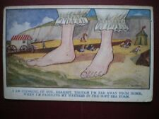 POSTCARD COMIC I AM THINKING OF YOU- WHEN I'M PADDLING MY TOOTSIES IN THE SOFT S